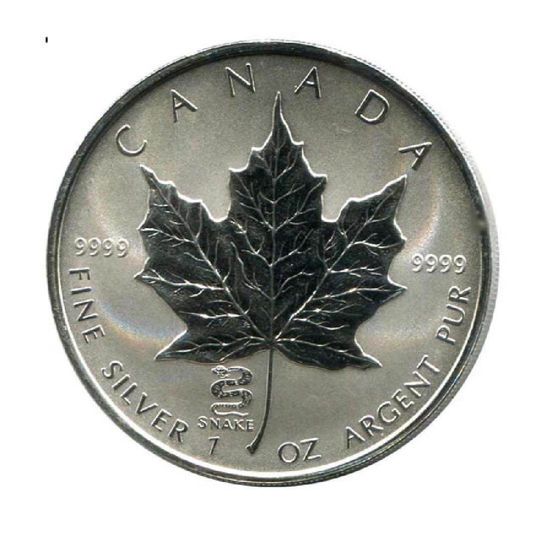 2001 Canada 1 oz. Silver Maple Leaf Reverse Proof Snake