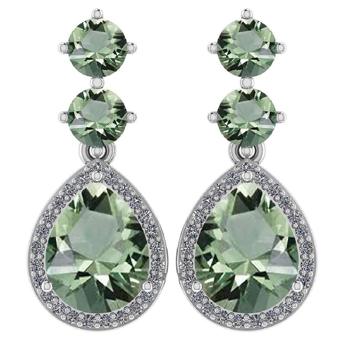 Certified 5.17 Ctw Green Amethyst And Diamond 14k White