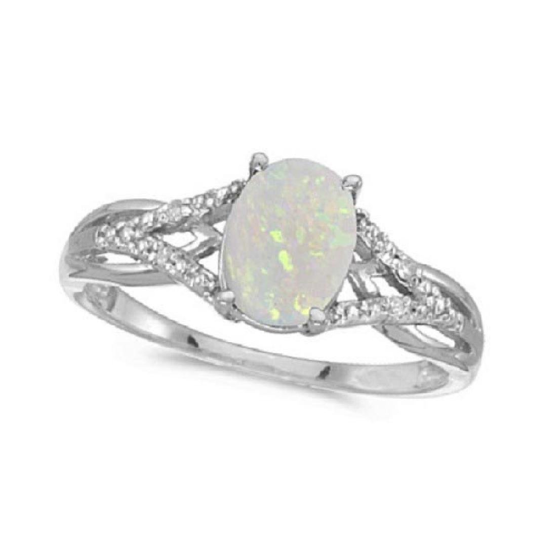 Oval Opal and Diamond Cocktail Ring 14K White Gold (0.7