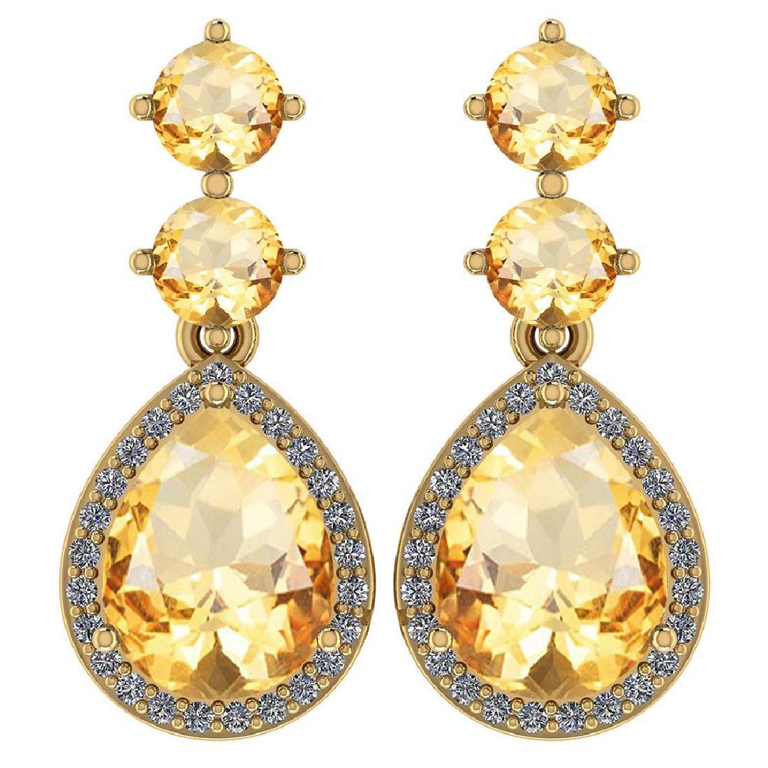 Certified 5.17 Ctw Citrine And Diamond 14k Yellow Gold