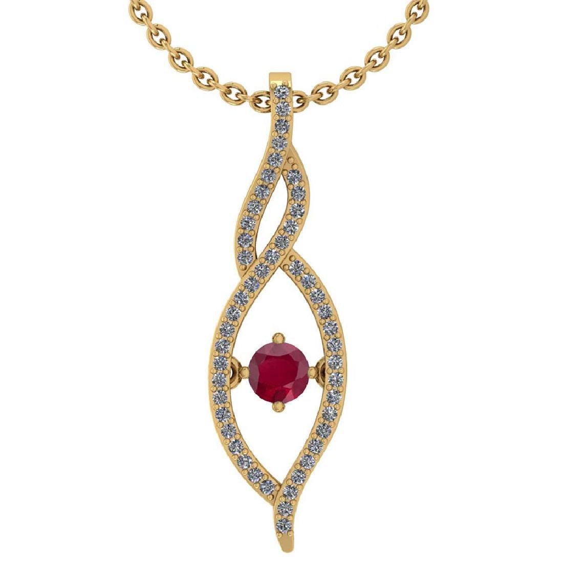 Certified 0.47 Ctw Ruby And Diamond 14k Yellow Gold Pen