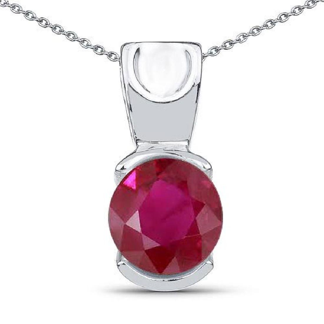 Certified 1.50 CTW Genuine Ruby 14K White Gold Pendant