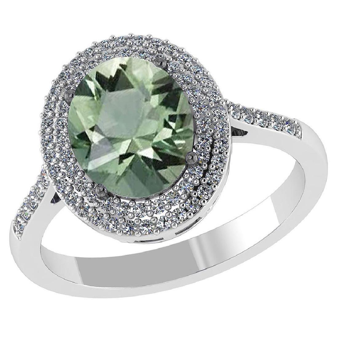 Certified 2.82 CTW Genuine Green Amethyst And Diamond 1