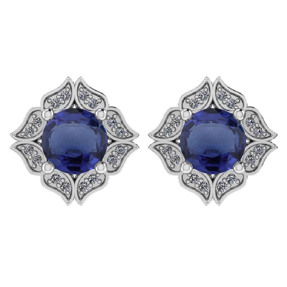 Certified .98 Ctw Genuine Blue Sapphire And Diamond 14k