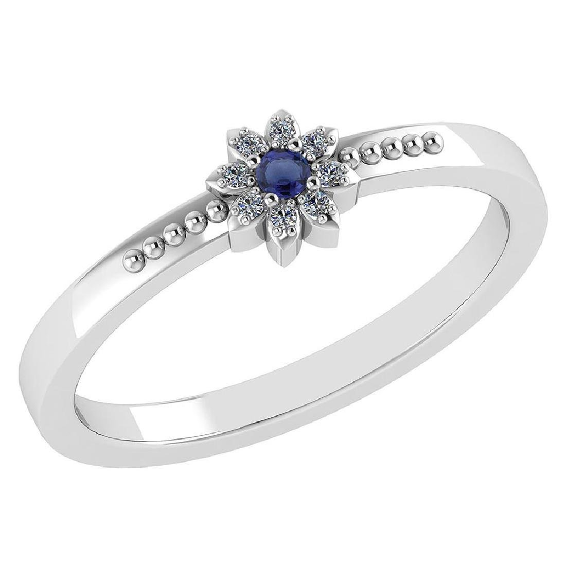 Certified .07 Ctw Genuine Blue Sapphire And Diamond 14k