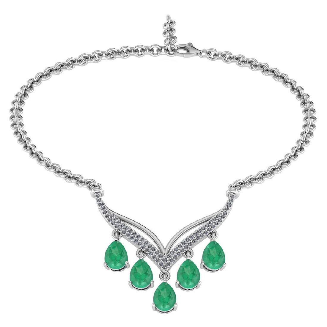 Certified 4.19 CTW Genuine Emerald And Diamond 14k Whit