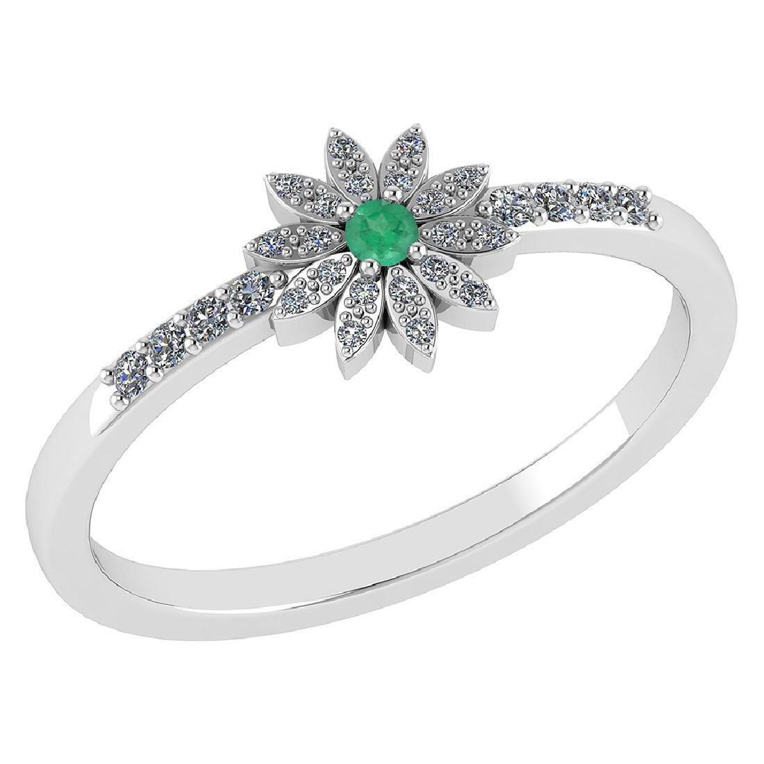 Certified .16 CTW Genuine Emerald And Diamond 14K White