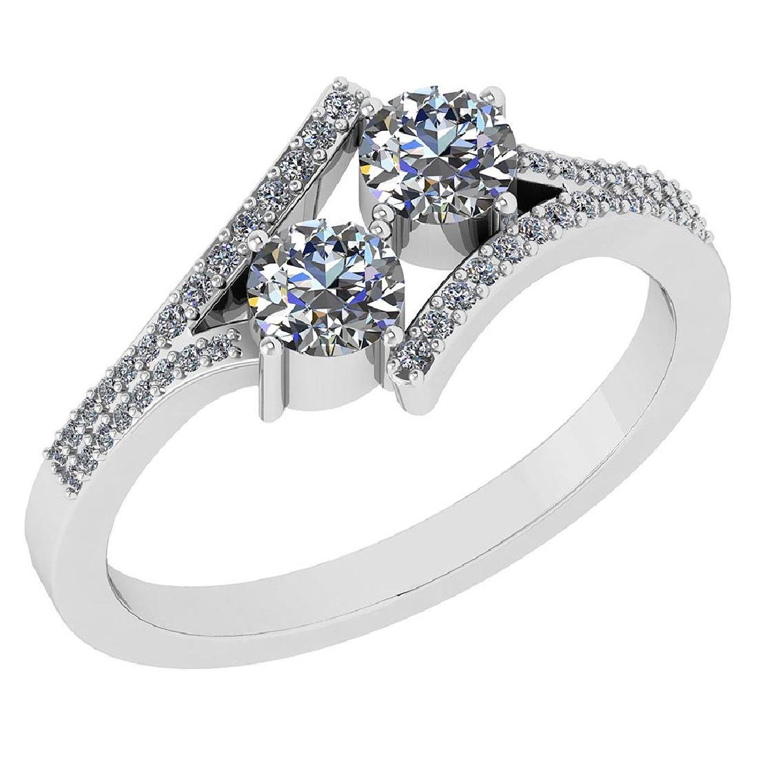 Certified 1.16 Ctw Diamond 14k White Gold Engagement Ri