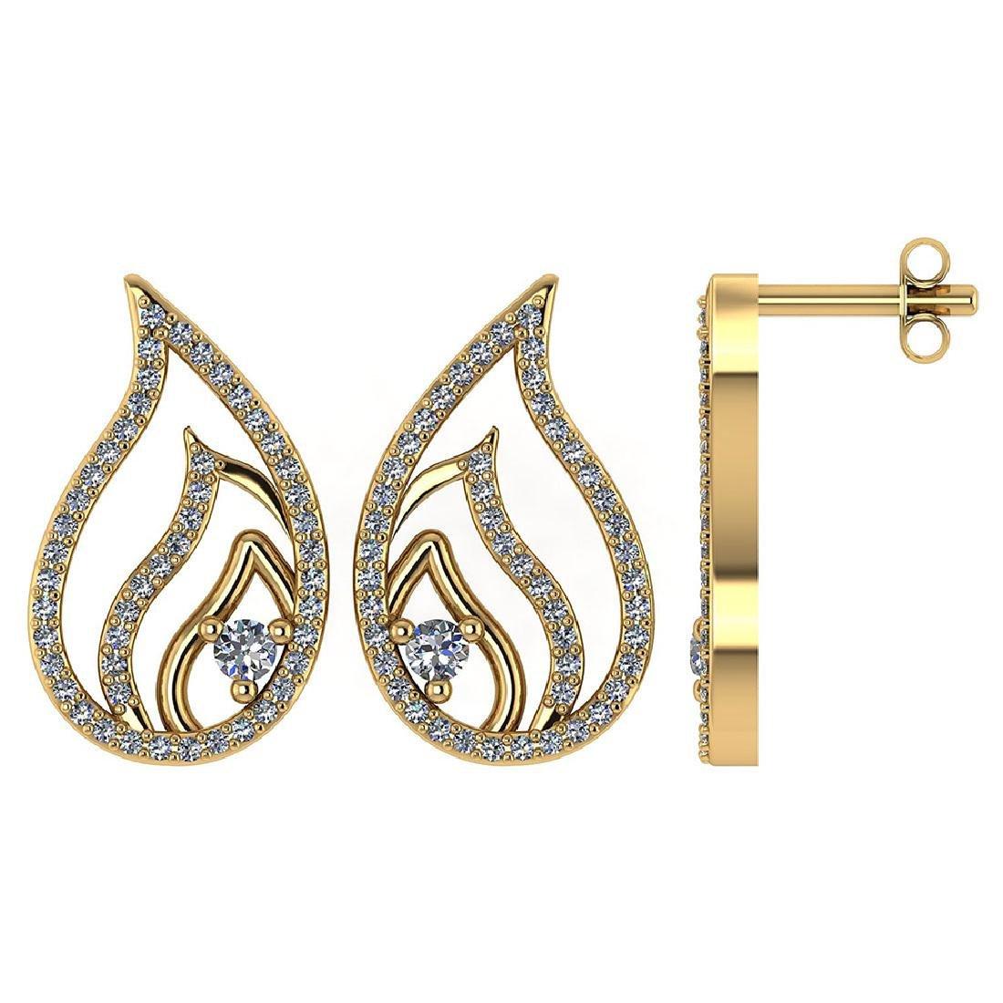 Certified .30 CTW Diamond Genuine 14K Yellow Gold Stud