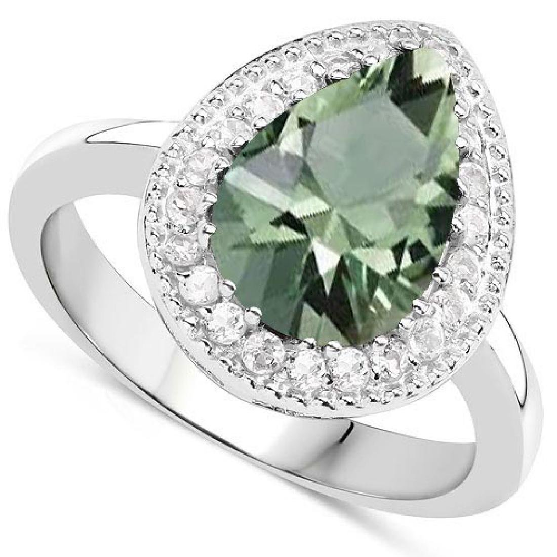 Certified 3.40 CTW Genuine Green Amethyst And Diamond 1