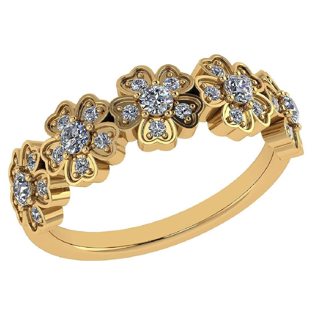 Certified .55 CTW Diamond Genuine 14K Yellow Gold Ring
