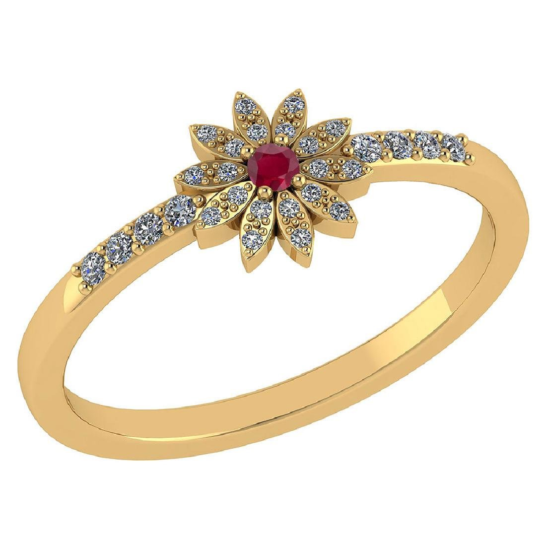 Certified .16 CTW Genuine Ruby And Diamond 14K Yellow G