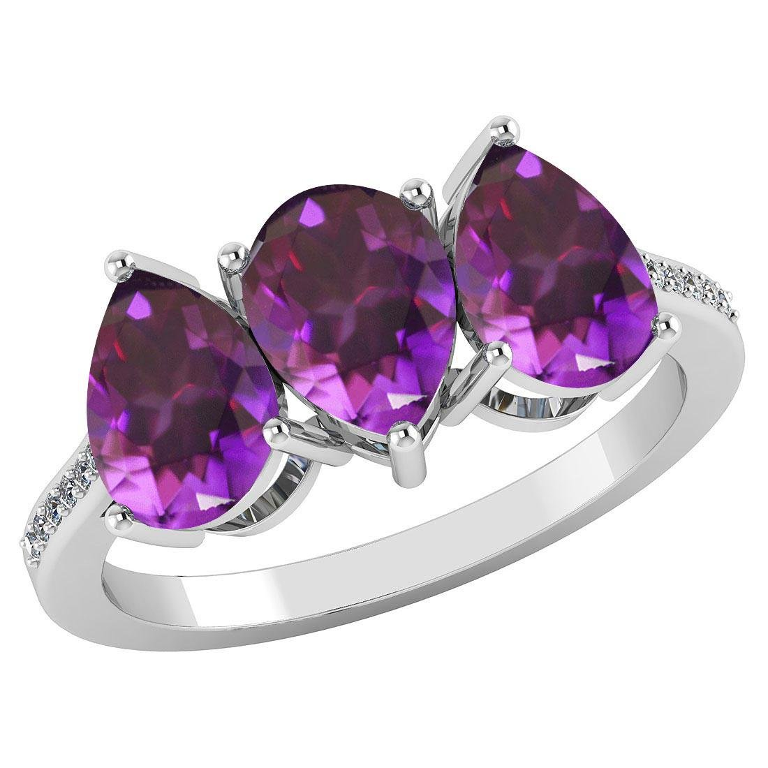 Certified 3.81 CTW Amethyst And Diamond 14k White Gold