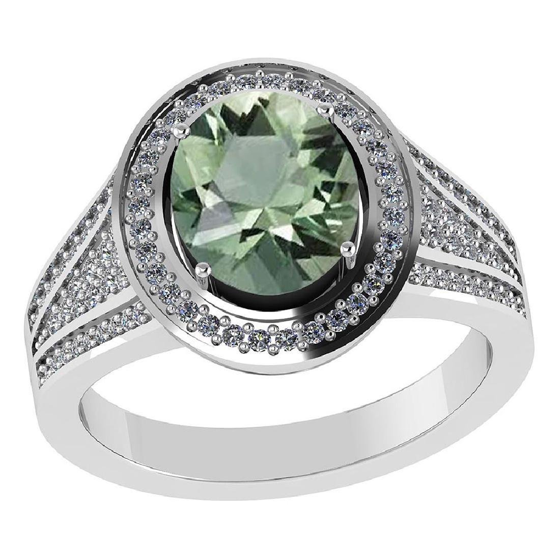 Certified 2.20 CTW Genuine Green Amethyst And Diamond 1