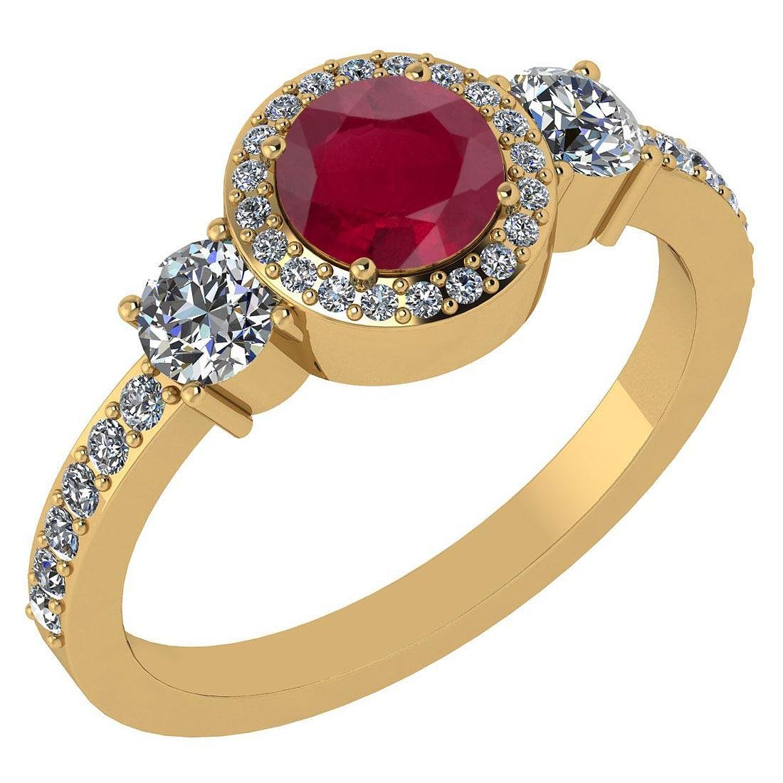 Certified 1.51 Ctw Ruby And Diamond 14k Yellow Gold Hal