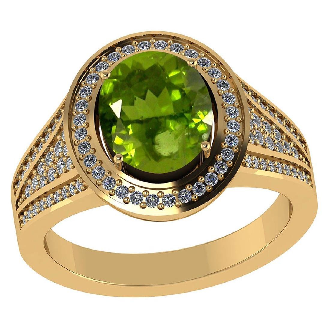 Certified 2.70 CTW Genuine Peridot And Diamond 14K Yell