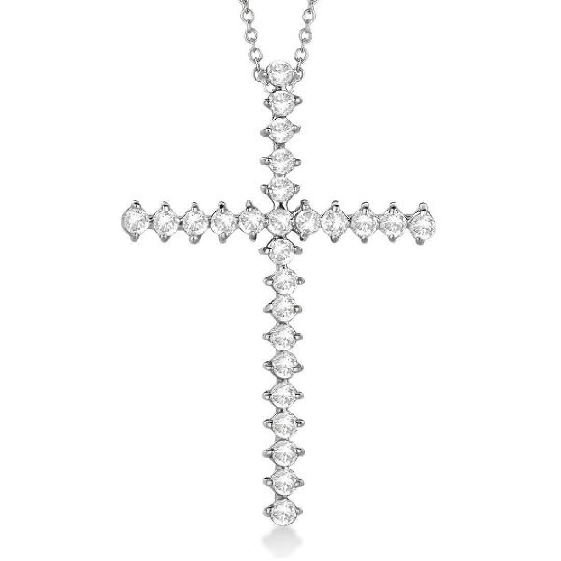 Diamond Cross Pendant Necklace 14kt White Gold (1.00ct)