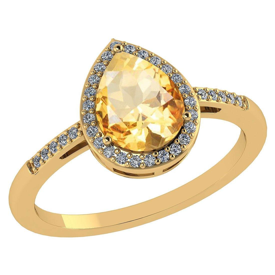 Certified 2.18 Ctw Citrine And Diamond 14k Yellow Gold
