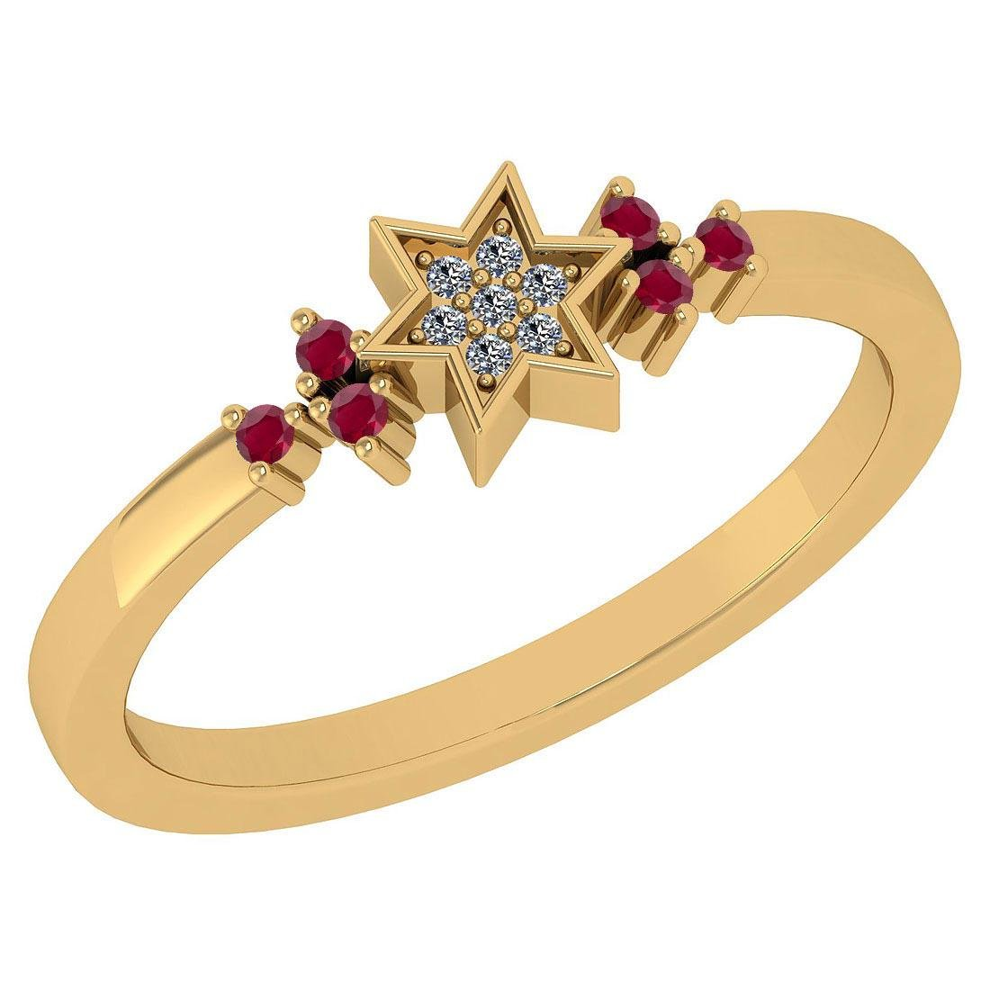 Certified 0.10 Ctw Ruby And Diamond 14k Yellow Gold Hal