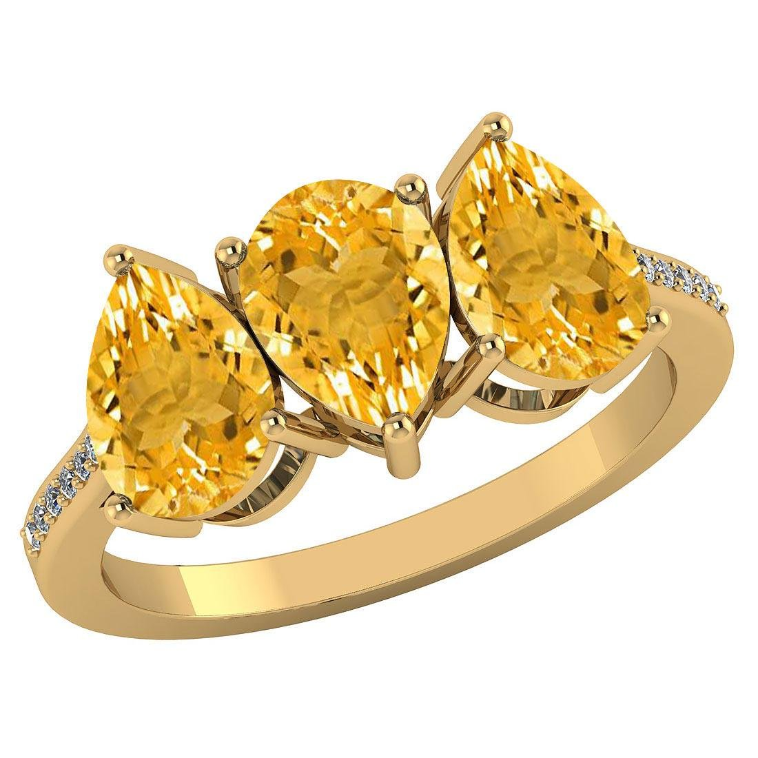 Certified 3.81 CTW Citrine And Diamond 14k Yellow Gold