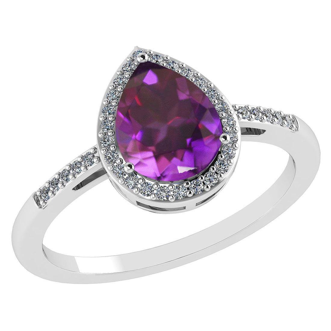 Certified 2.18 Ctw Amethyst And Diamond 14k White Gold