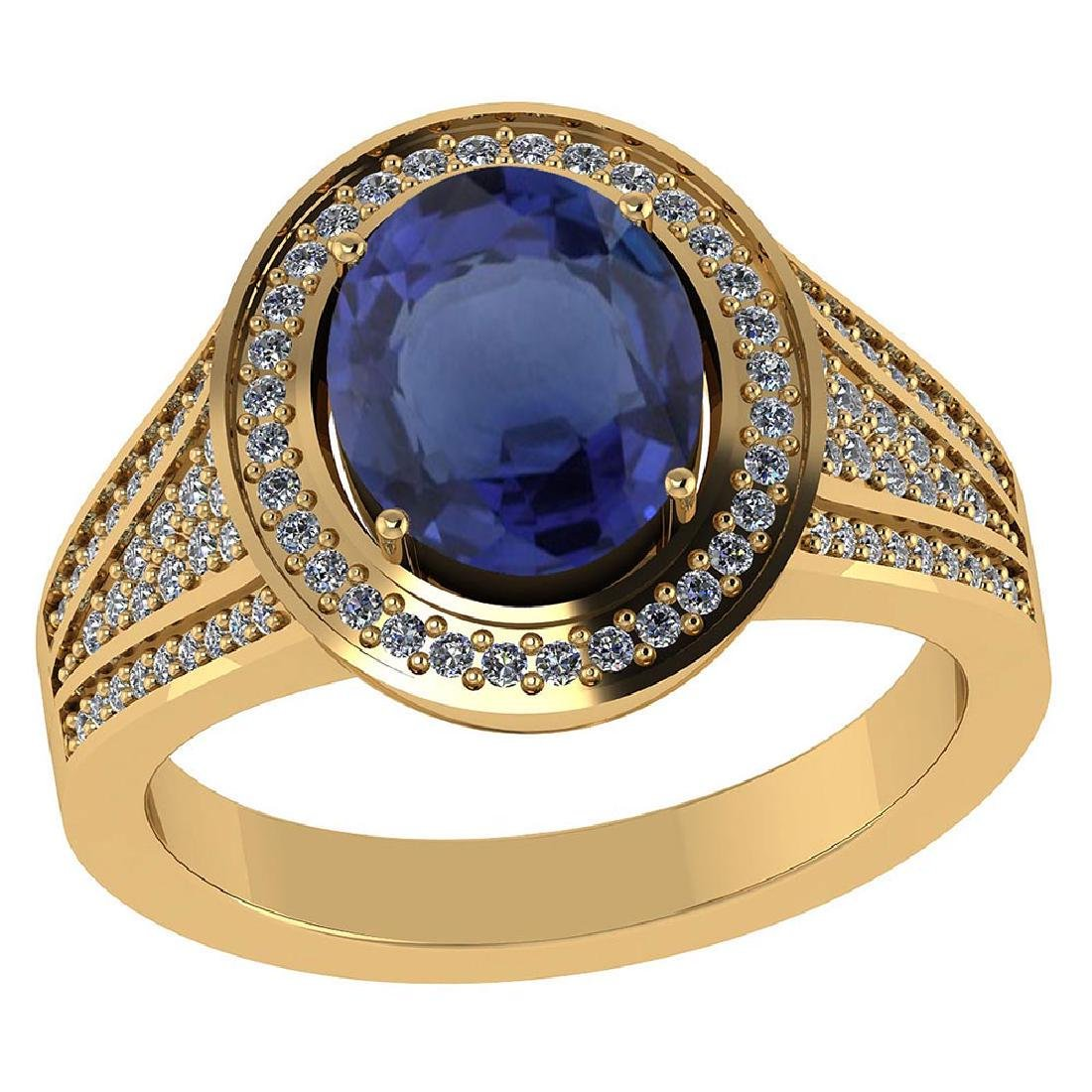 Certified 2.40 CTW Genuine Blue Sapphire And Diamond 14