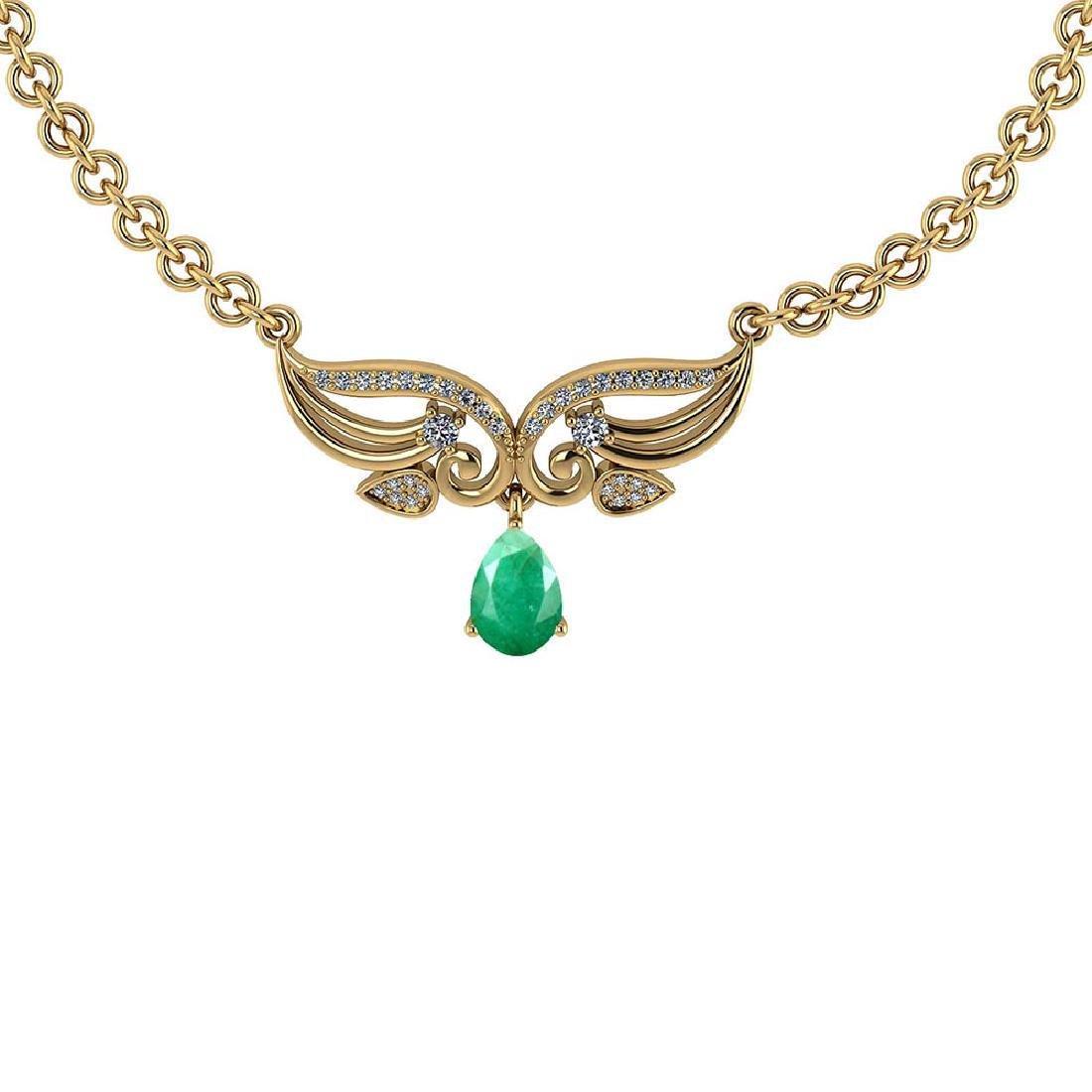 Certified 3.94 Ctw Genuine Emerald And Diamond 14k Yell