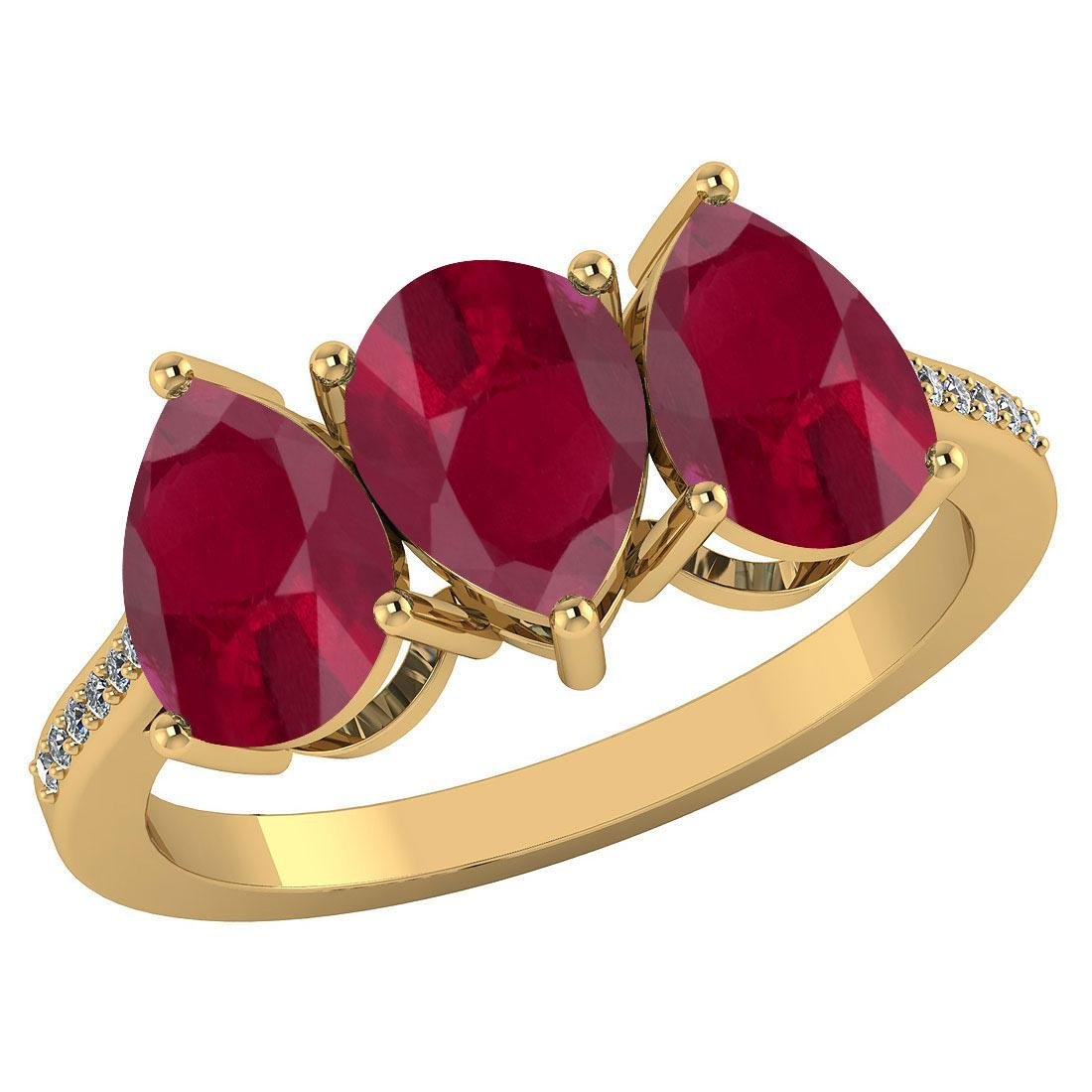 Certified 3.81 CTW Ruby And Diamond 14k Yellow Gold Hal