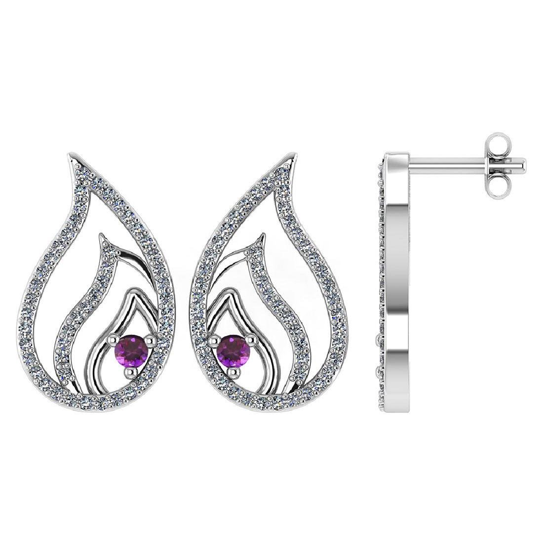 Certified .30 CTW Genuine Amethyst And Diamond 14K Whit
