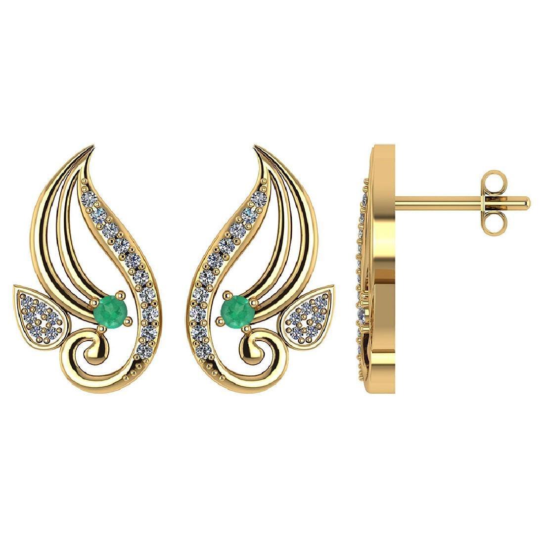 Certified .26 CTW Genuine Emerald And Diamond 14K White