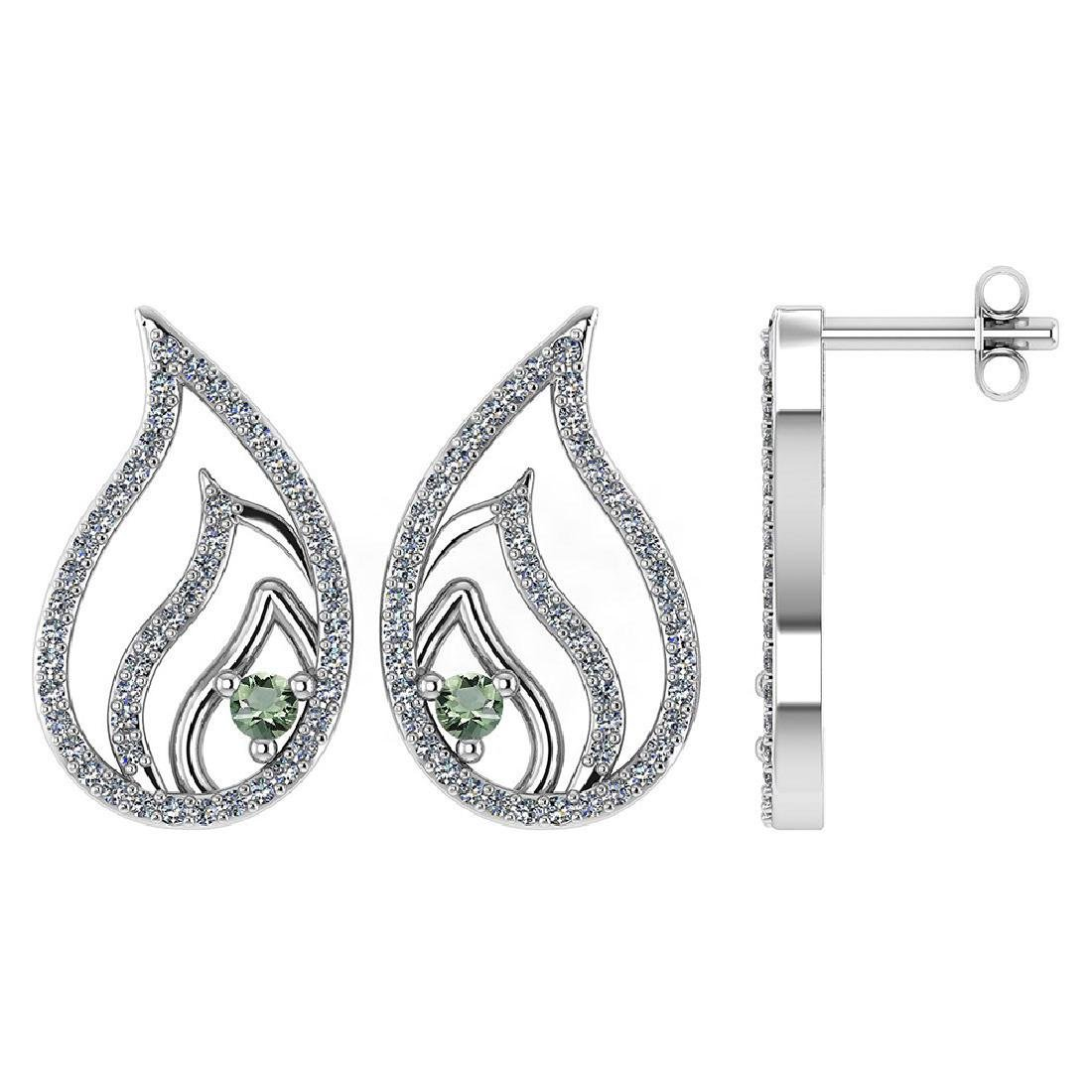 Certified .30 CTW Genuine Green Amethyst And Diamond 14