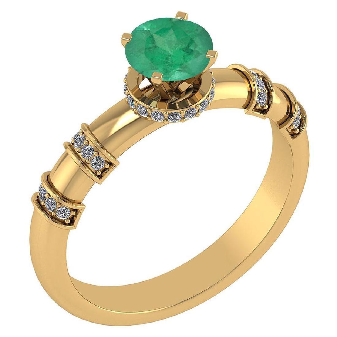 Certified .96 Ctw Genuine Emerald And Diamond 14k Yello