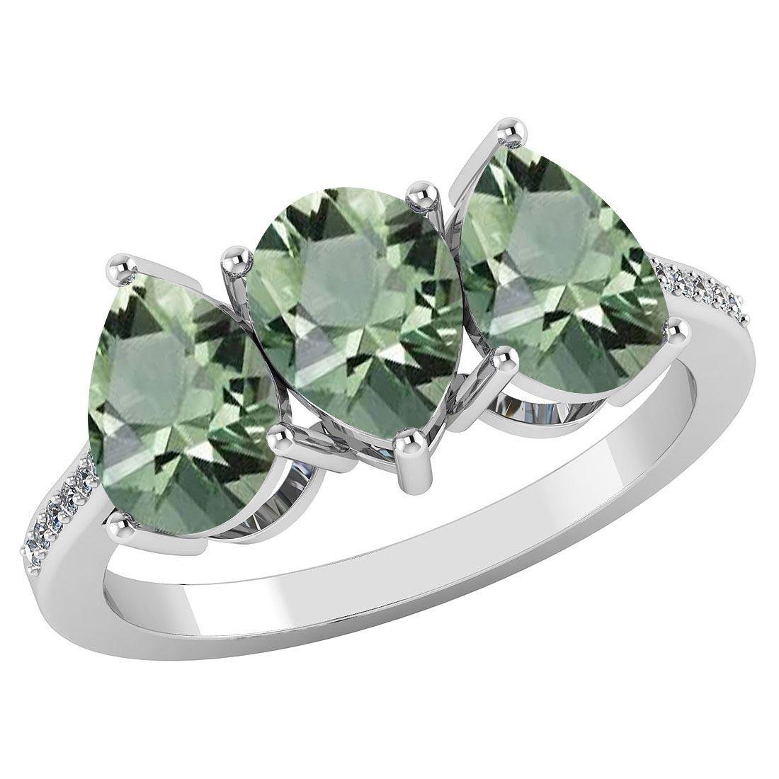 Certified 3.81 CTW Green Amethyst And Diamond 14k White