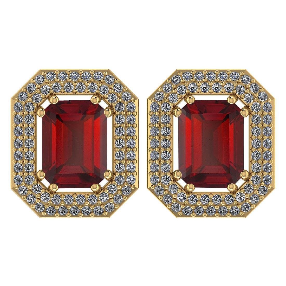 Certified 3.71 Ctw Garnet And Diamond 14k Yellow Gold H