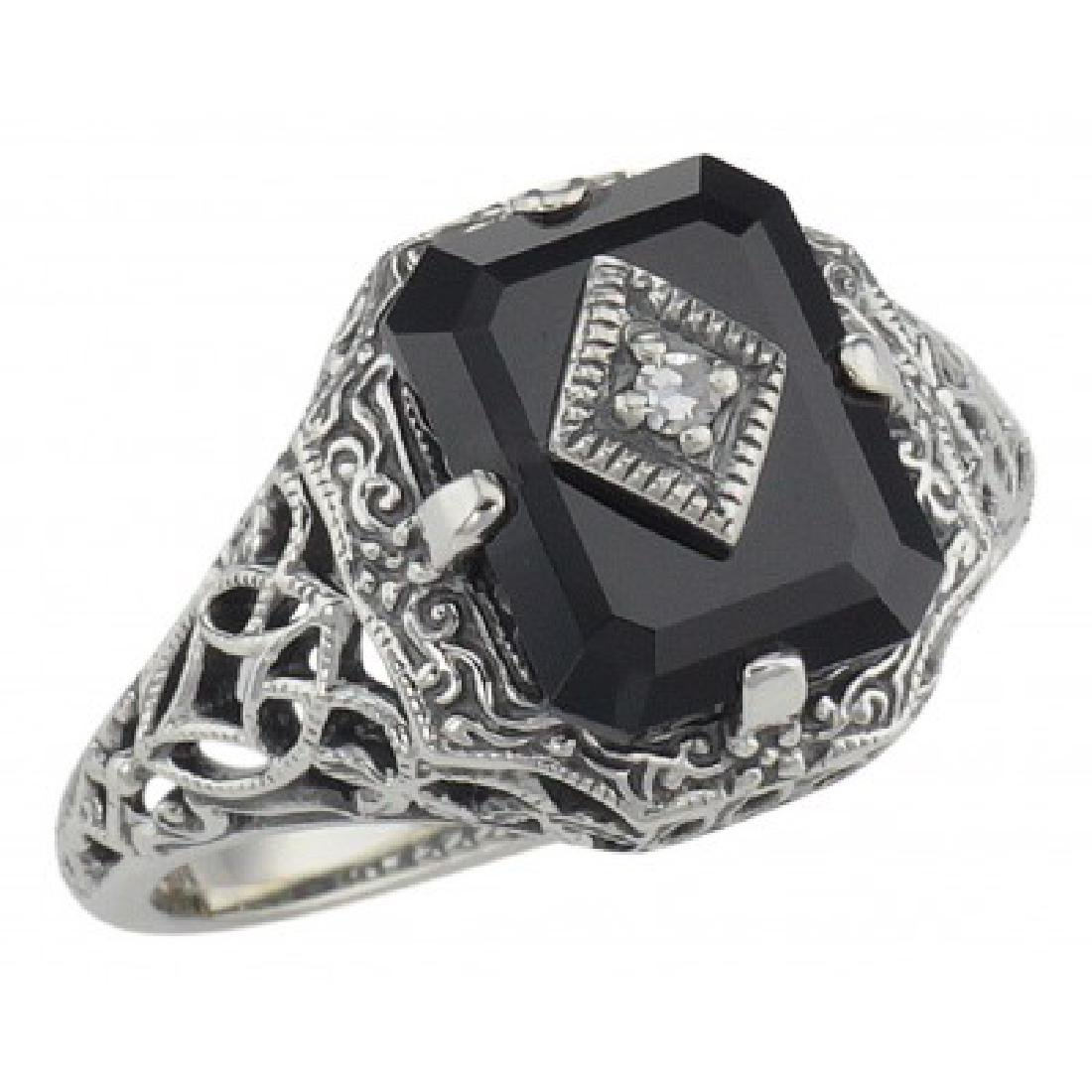 Black Onyx Filigree Ring w/ Diamond Art Deco Style - St