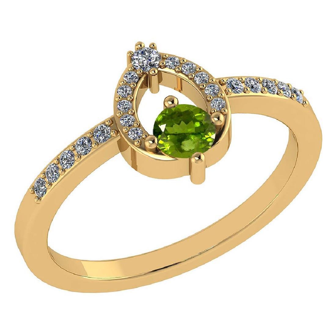Certified .36 CTW Genuine Peridot And Diamond (G-H/SI1-