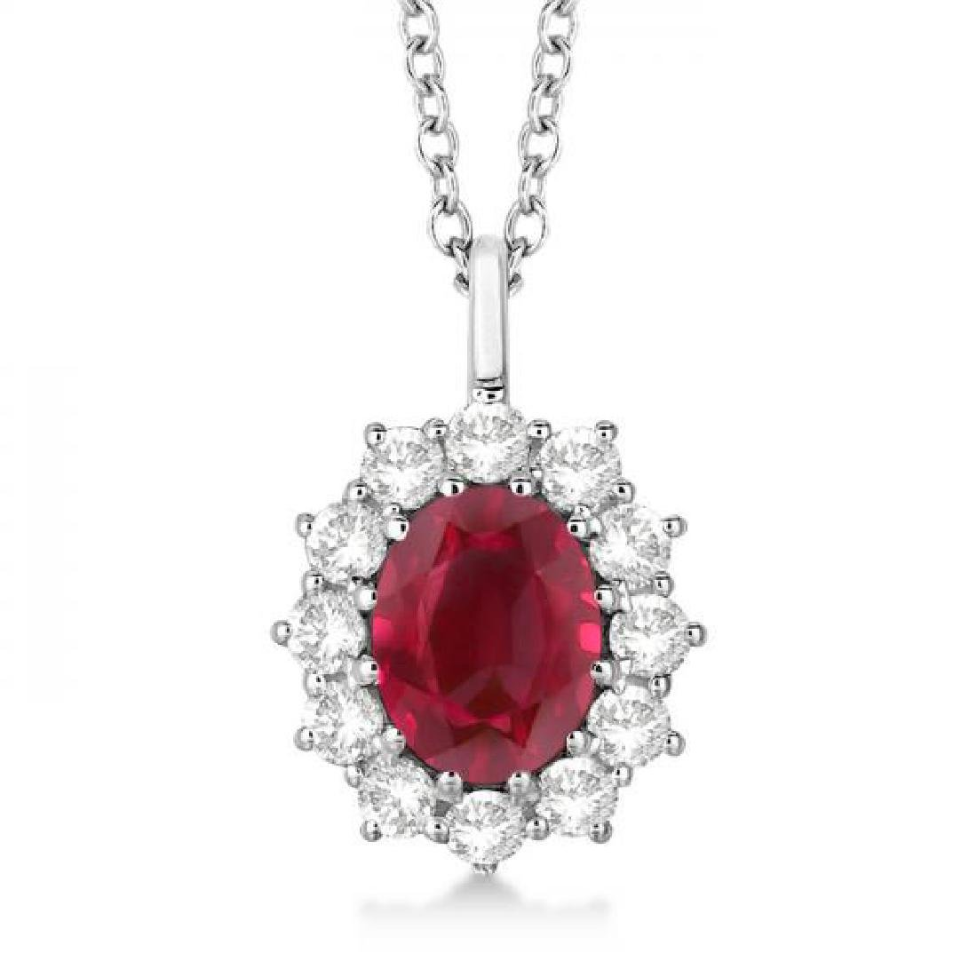 Oval Ruby and Diamond Pendant Necklace 14k White Gold (