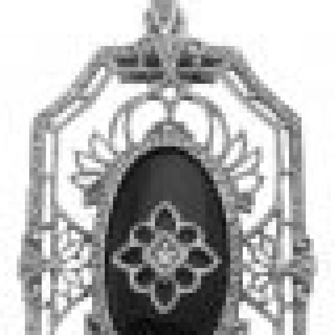 Art Deco Style Black Onyx Diamond Pendant with Chain -