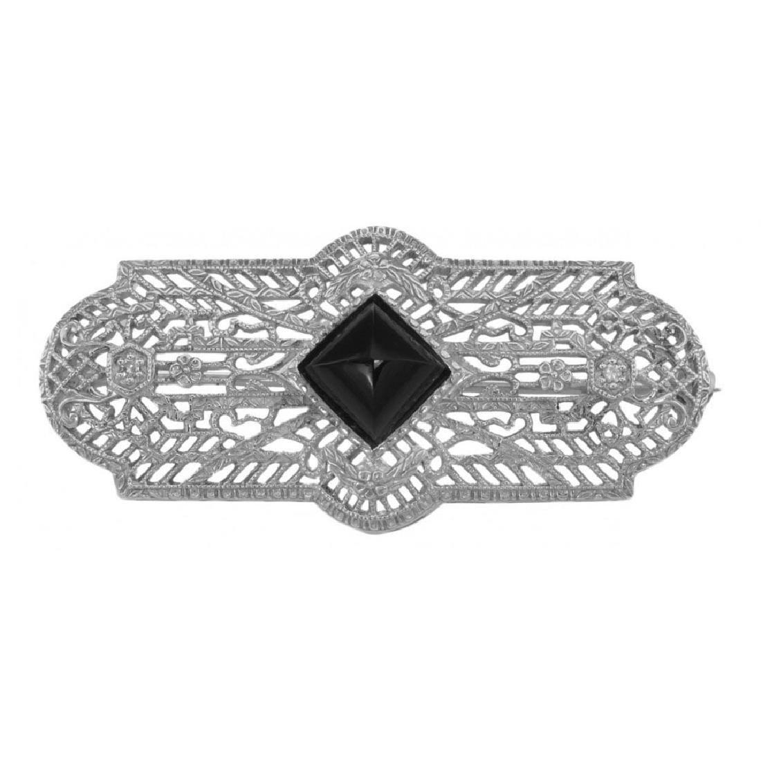 Art Deco Style Black Onyx and Diamond Pin / Brooch - St
