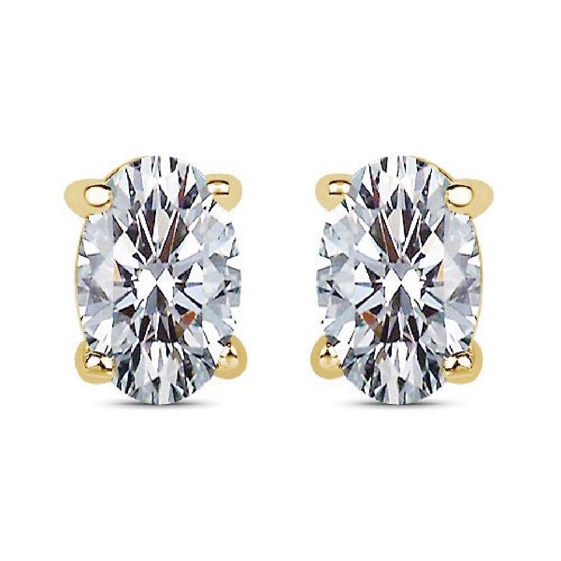 Certified 1.00 CTW Oval Diamond 14K Yellow Gold Earring
