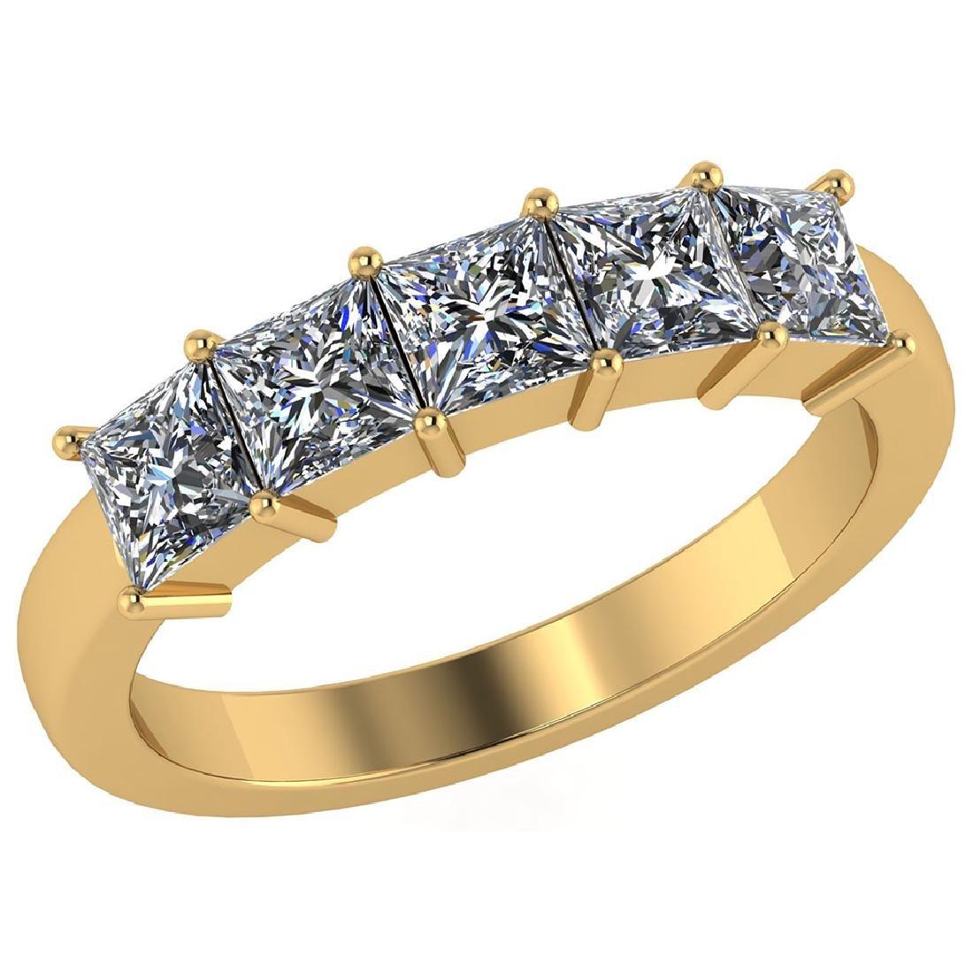 Certified 1.00 CTW Princess Diamond 14K Yellow Gold Rin