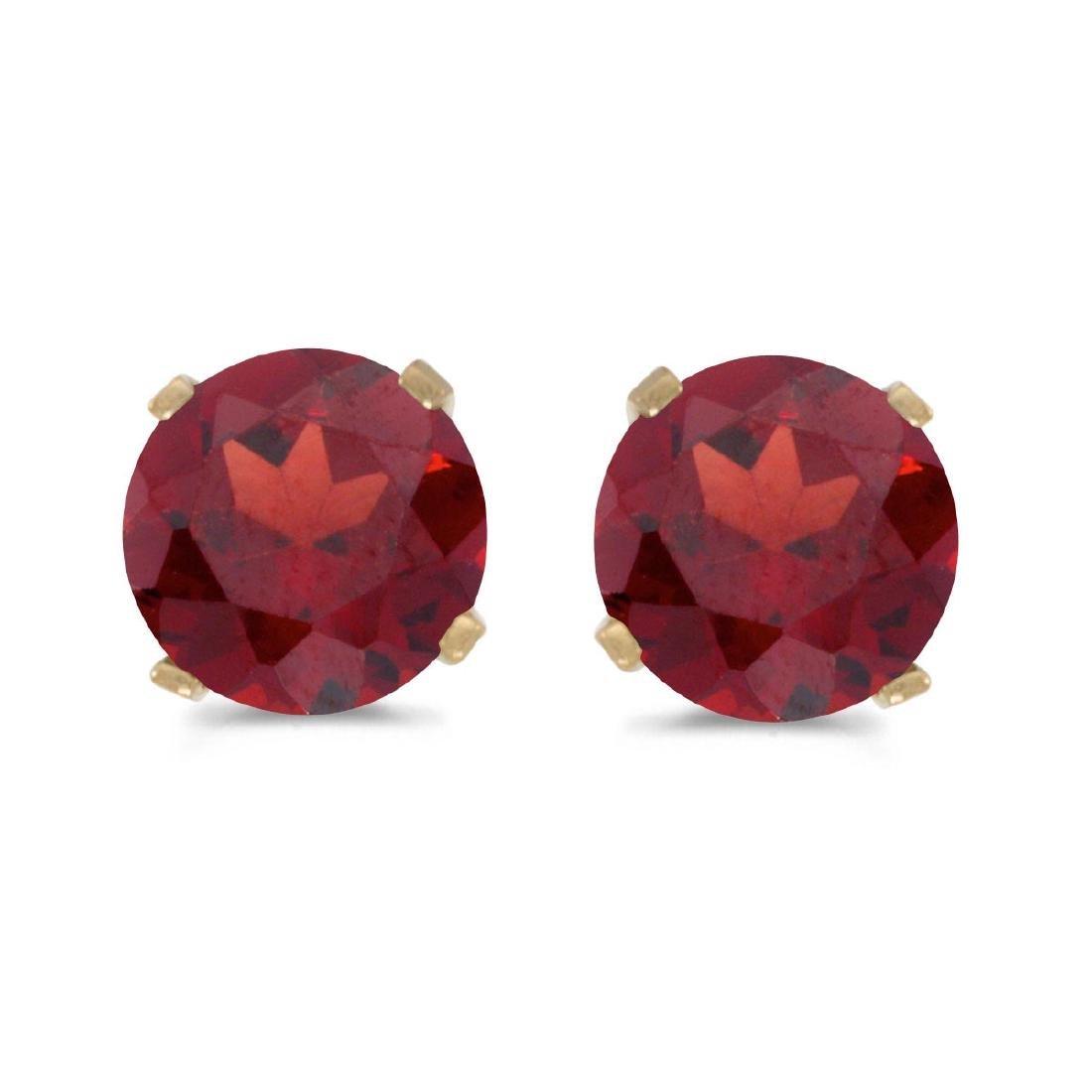 Certified 5 mm Natural Round Garnet Stud Earrings Set i