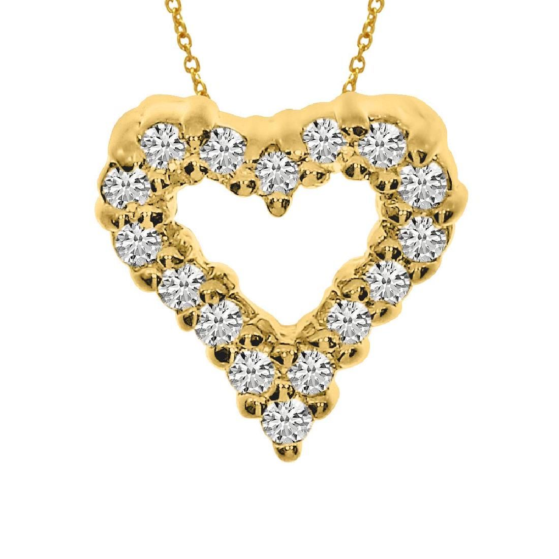 Certified 14K Yellow Gold Diamond Heart Pendant 0.25 CT