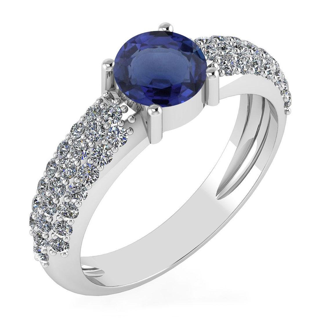 Certified 1.34 Ctw Blue Sapphire And Diamond 14k White