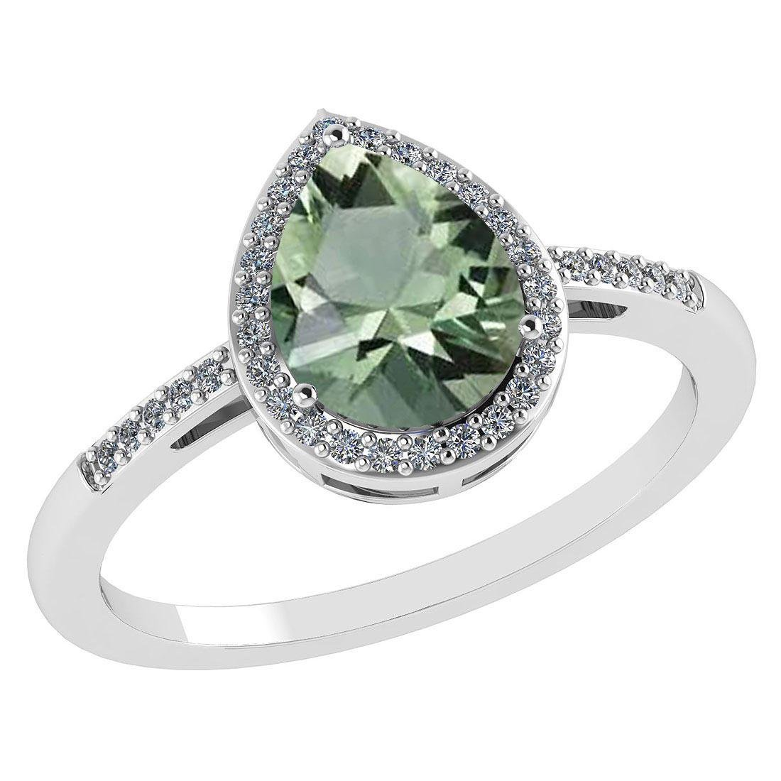Certified 2.18 Ctw Green Amethyst And Diamond 14k White
