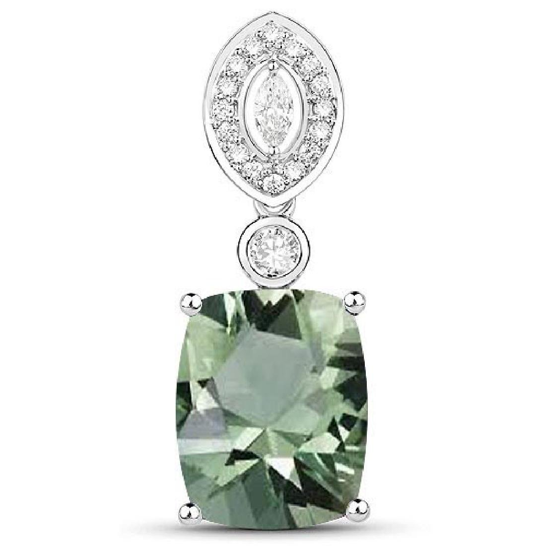 Certified 4.30 CTW Genuine Green Amethyst And Diamond 1
