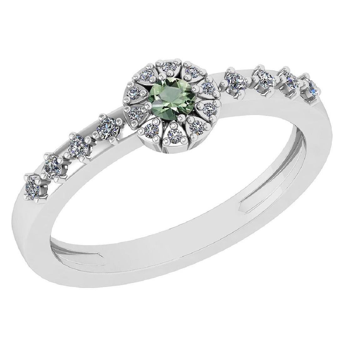 0.27 Ctw Green Amethyst And Diamond 14k White Gold Halo