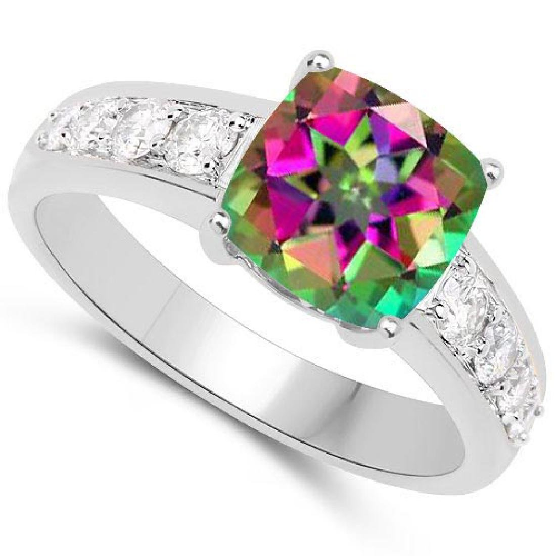 Certified 2.45 CTW Genuine Mystic Topaz And Diamond 14K