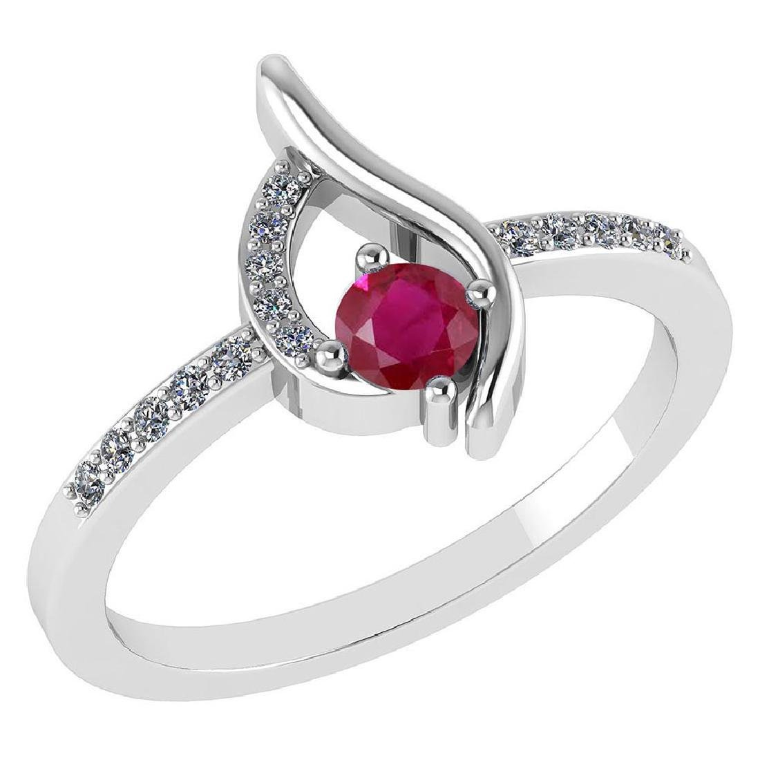 Certified .30 CTW Genuine Ruby And Diamond (G-H/SI1-SI2