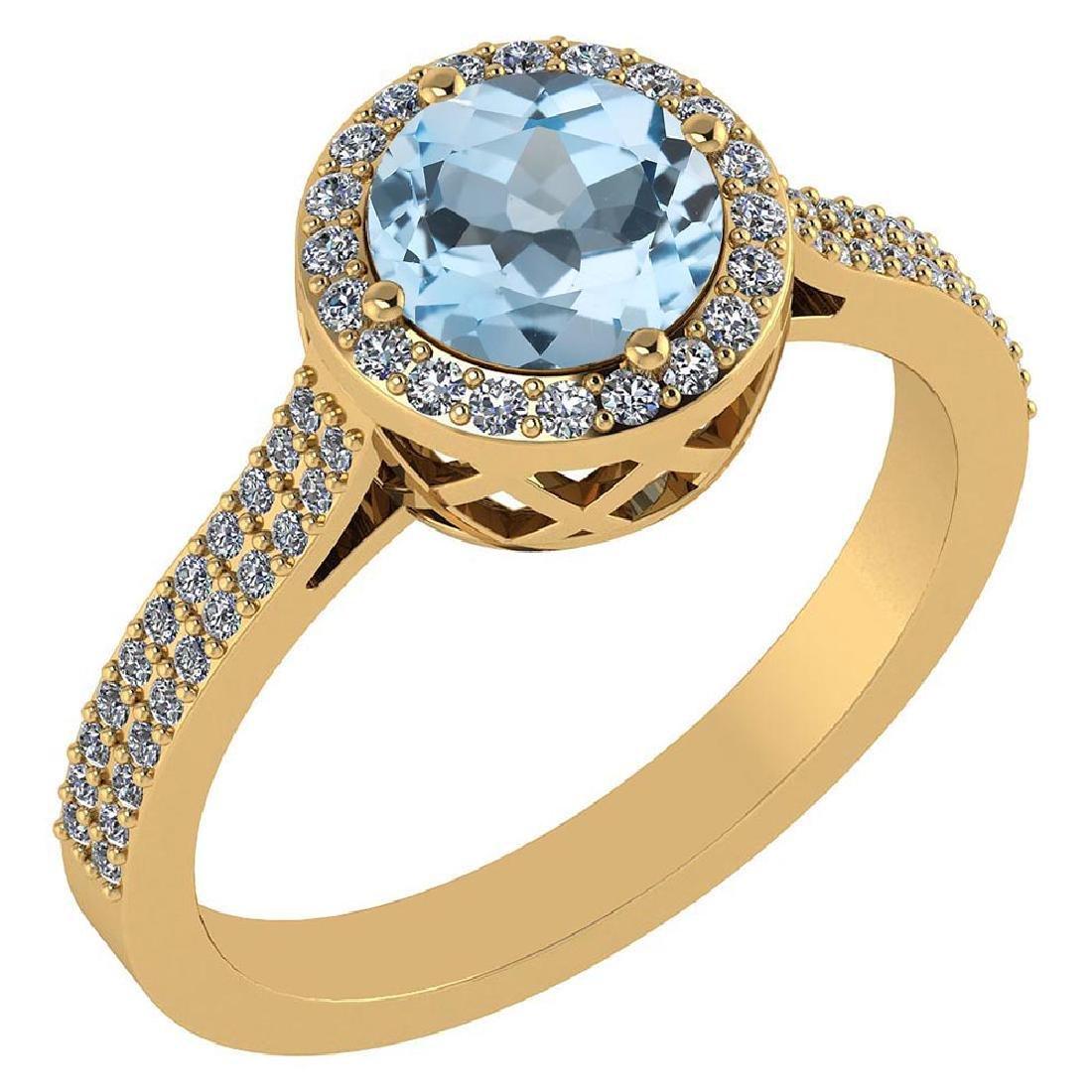1.77 Ctw Blue Topaz And Diamond 14k Yellow Gold Halo Ri